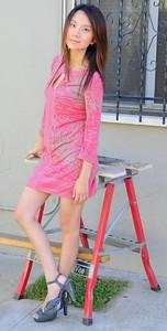beautiful woman model red dress 103..456