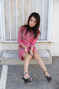 beautiful woman model red dress 161..