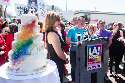 """It's time to cut the cake for equality"" said CSW/LA Pride Board President Esteban Montemayor"
