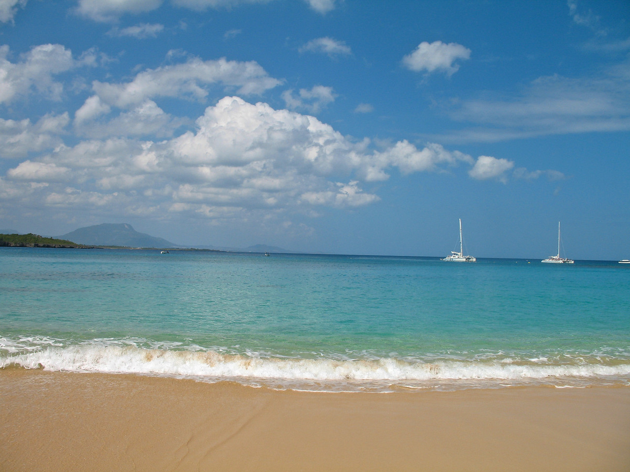 The water is typical Caribbean blue.