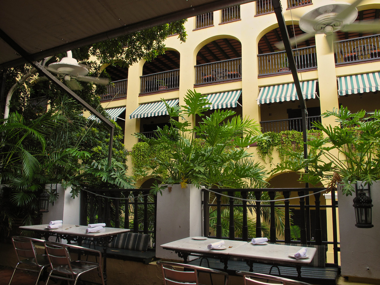 El Picoteo is an outdoor patio restaurant overlooking the hotel courtyard.