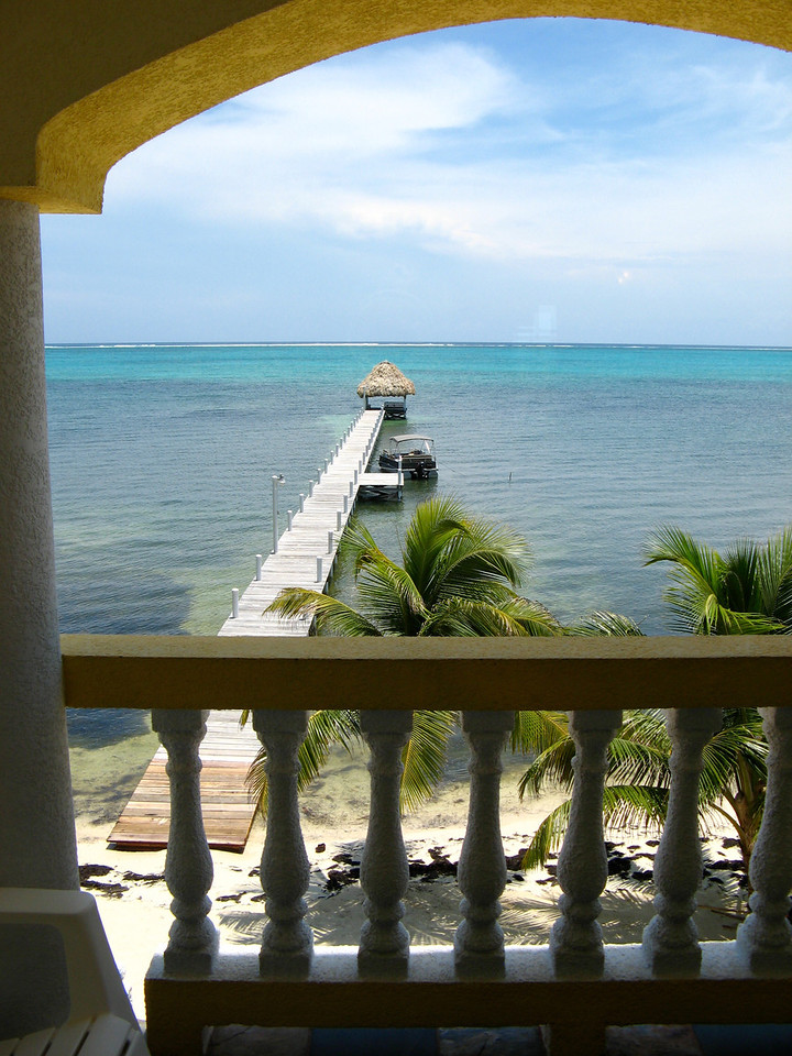 A look off the living room balcony out to the Carribean.