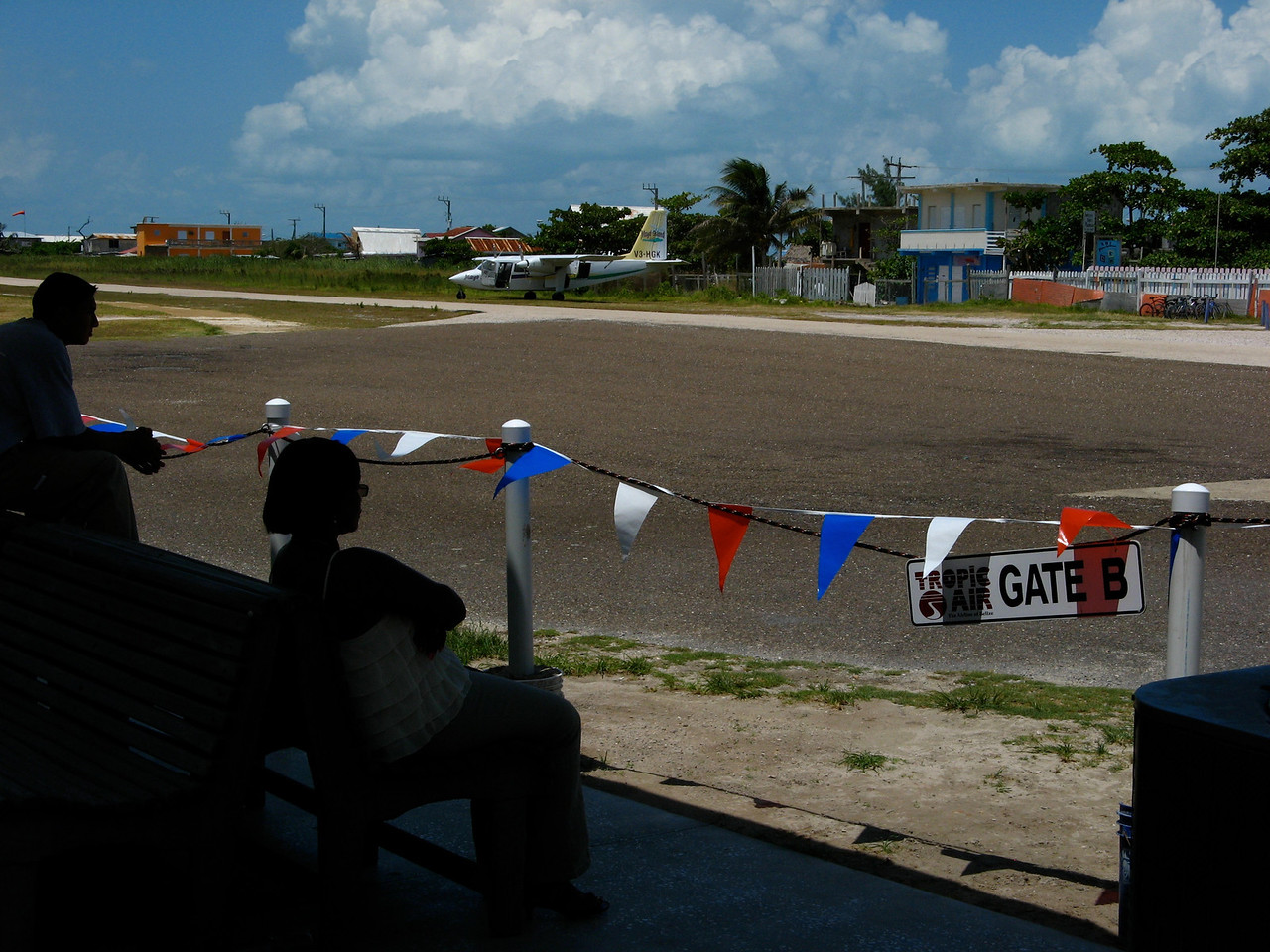 The waiting area by the gate at Tropic Air in San Pedro.