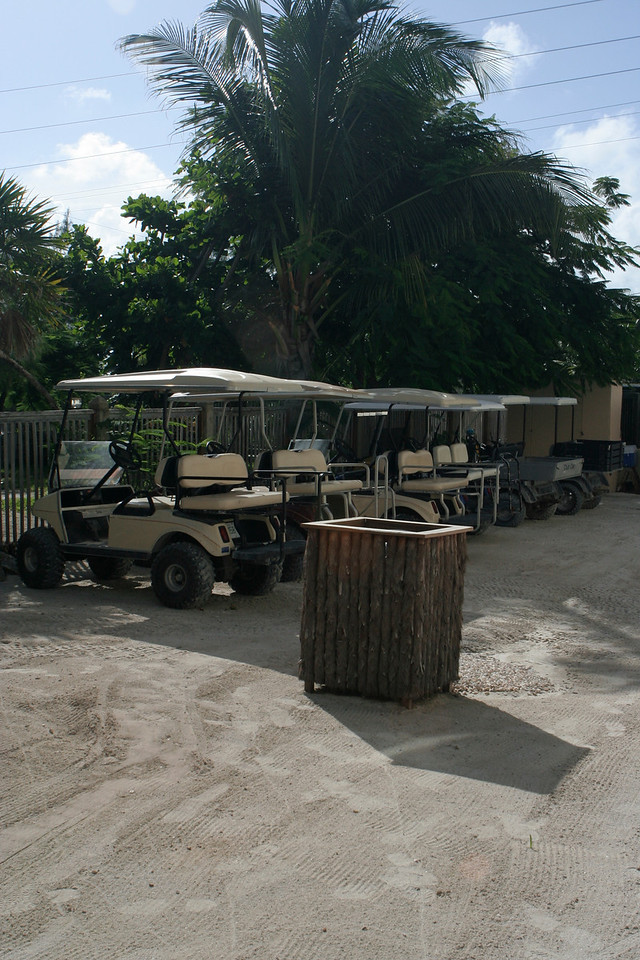 Golf carts are the main mode of transportation around the island.