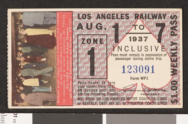 Los Angeles Railway weekly pass, 1937-08-01