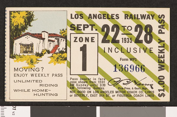 Los Angeles Railway weekly pass, 1935-09-22