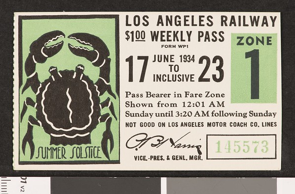 Los Angeles Railway weekly pass, 1934-06-17