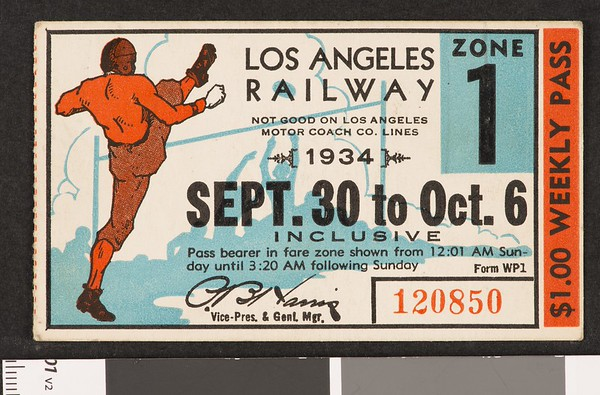 Los Angeles Railway weekly pass, 1934-09-30