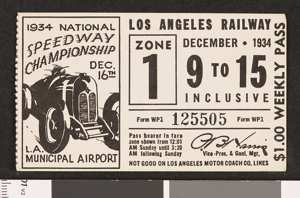 Los Angeles Railway weekly pass, 1934-12-09