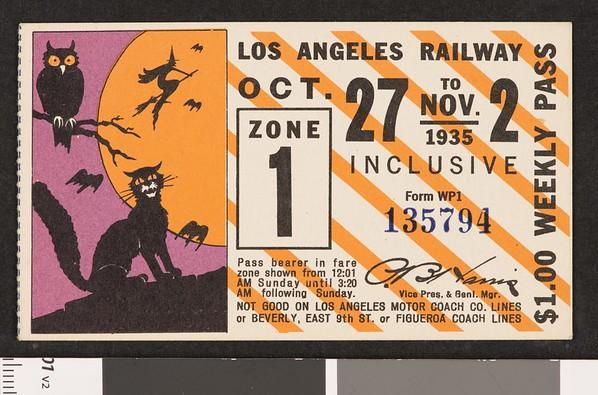 Los Angeles Railway weekly pass, 1935-10-27