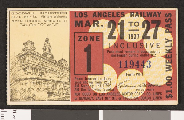 Los Angeles Railway weekly pass, 1937-03-21