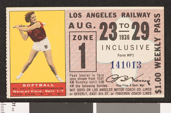 Los Angeles Railway weekly pass, 1936-08-23