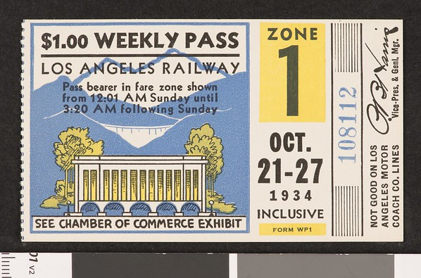 Los Angeles Railway weekly pass, 1934-10-21