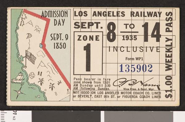 Los Angeles Railway weekly pass, 1935-09-08