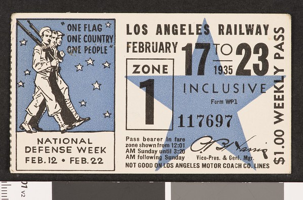 Los Angeles Railway weekly pass, 1935-02-17