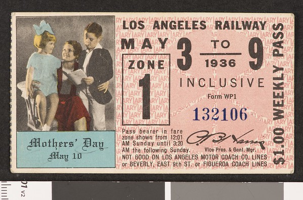 Los Angeles Railway weekly pass, 1936-05-03