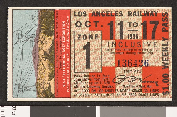 Los Angeles Railway weekly pass, 1936-10-11