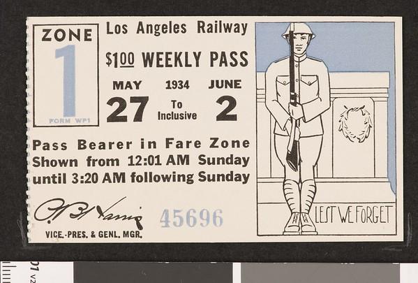 Los Angeles Railway weekly pass, 1934-05-27