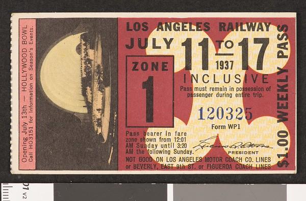 Los Angeles Railway weekly pass, 1937-07-11