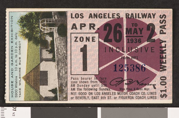 Los Angeles Railway weekly pass, 1936-04-26
