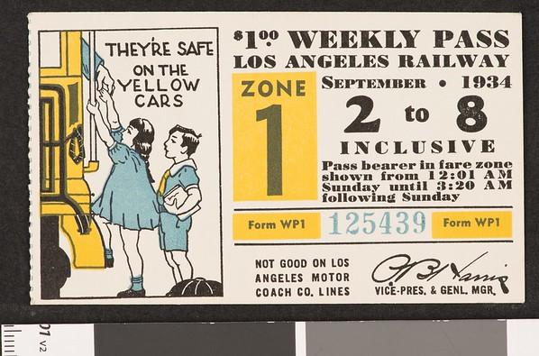 Los Angeles Railway weekly pass, 1934-09-02