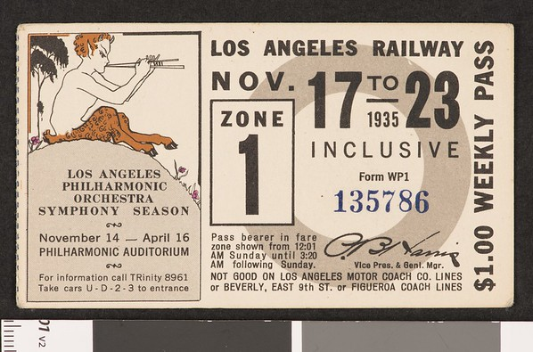Los Angeles Railway weekly pass, 1935-11-17