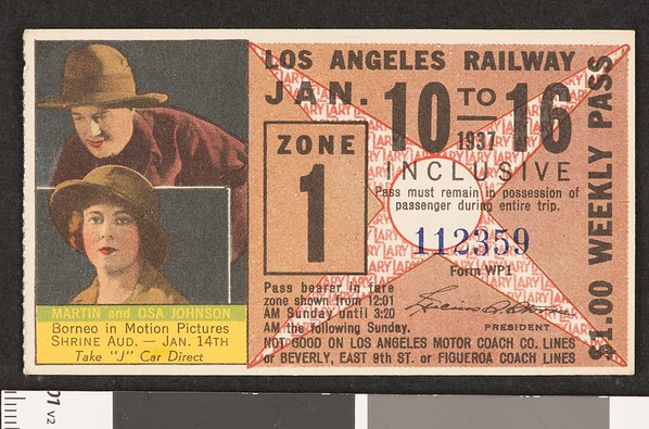 Los Angeles Railway weekly pass, 1937-01-10