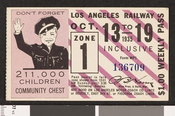 Los Angeles Railway weekly pass, 1935-10-13