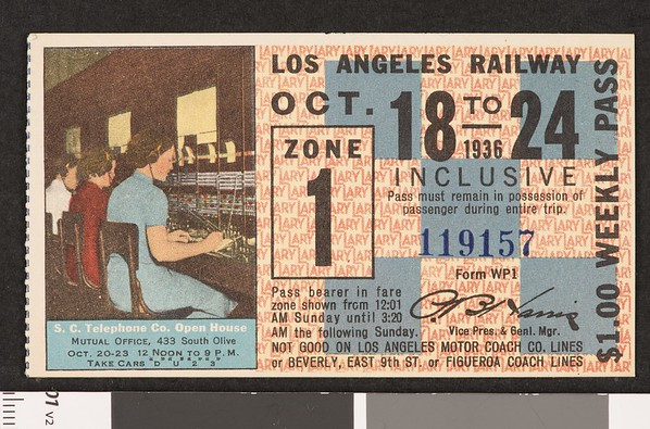 Los Angeles Railway weekly pass, 1936-10-18