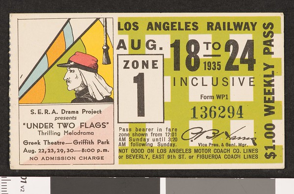 Los Angeles Railway weekly pass, 1935-08-18