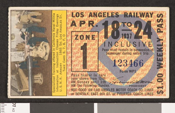 Los Angeles Railway weekly pass, 1937-04-18