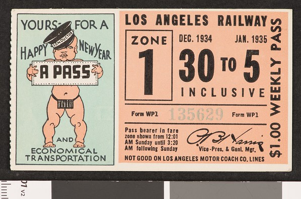 Los Angeles Railway weekly pass, 1934-12-30