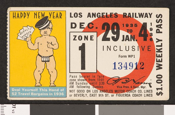 Los Angeles Railway weekly pass, 1935-12-29