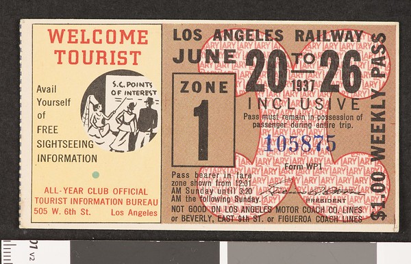 Los Angeles Railway weekly pass, 1937-06-20