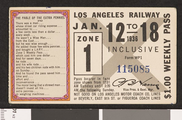 Los Angeles Railway weekly pass, 1936-01-12
