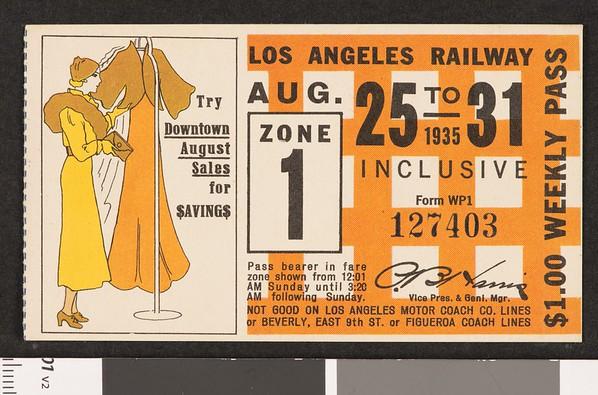 Los Angeles Railway weekly pass, 1935-08-25