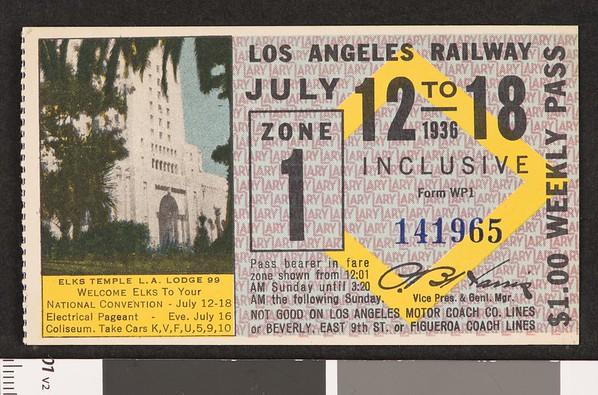 Los Angeles Railway weekly pass, 1936-07-12