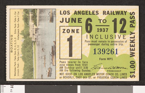 Los Angeles Railway weekly pass, 1937-06-06