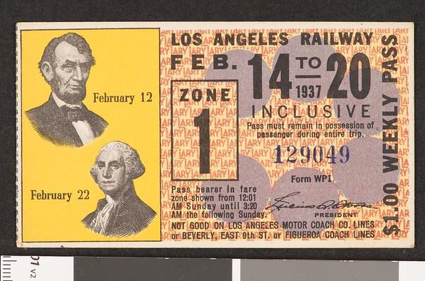 Los Angeles Railway weekly pass, 1937-02-14