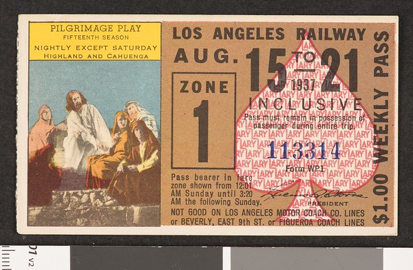 Los Angeles Railway weekly pass, 1937-08-15