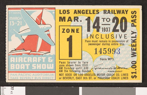 Los Angeles Railway weekly pass, 1937-03-14