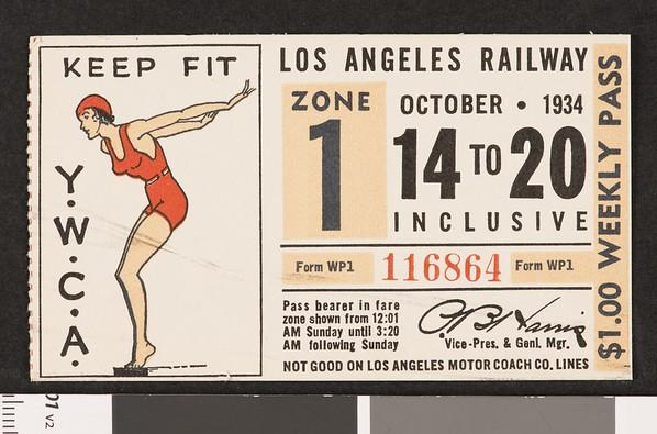 Los Angeles Railway weekly pass, 1934-10-14