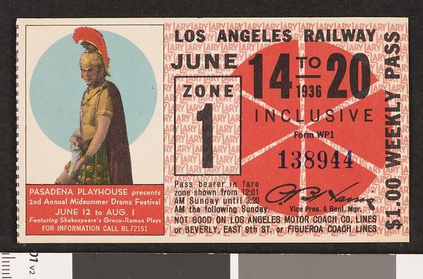 Los Angeles Railway weekly pass, 1936-06-14