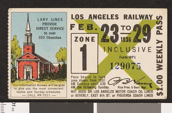 Los Angeles Railway weekly pass, 1936-02-23
