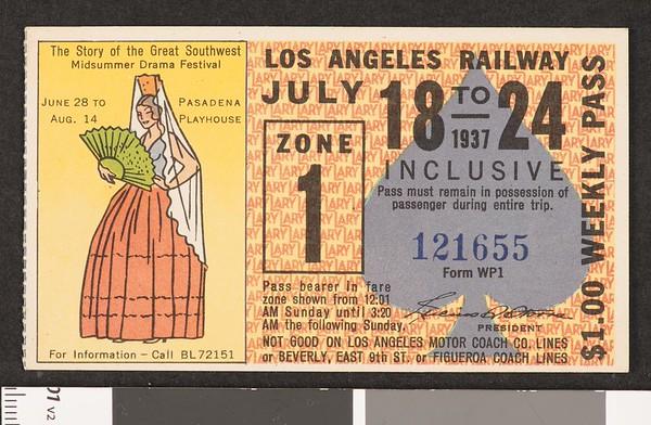 Los Angeles Railway weekly pass, 1937-07-18