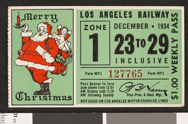 Los Angeles Railway weekly pass, 1934-12-23