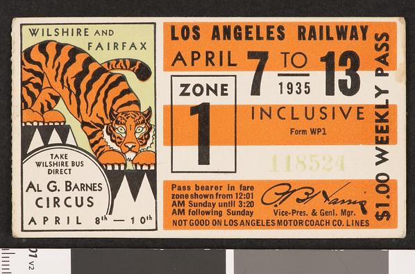 Los Angeles Railway weekly pass, 1935-04-07