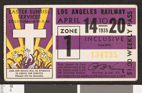 Los Angeles Railway weekly pass, 1935-04-14