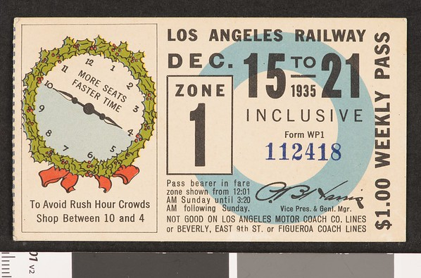 Los Angeles Railway weekly pass, 1935-12-15