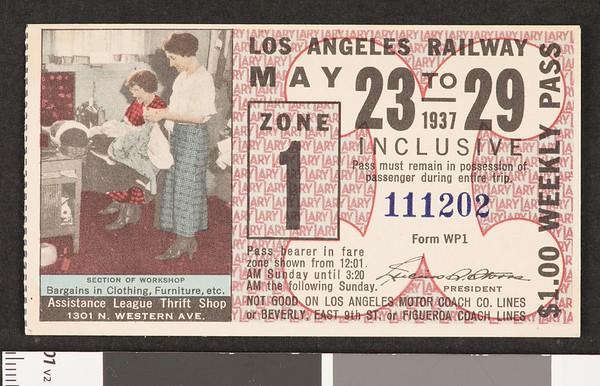 Los Angeles Railway weekly pass, 1937-05-23